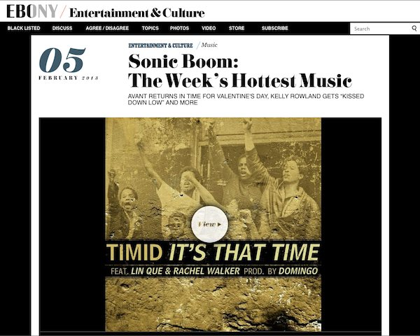 Timid featured at Ebony.com